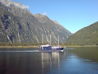Real Journeys - One of the company's ships on Milford Sound