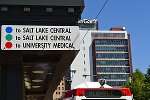 TRAX (light rail) - A sign at the Courthouse Station indicates the terminus of each line heading north (photo taken prior to the extension of the Green Line to Salt Lake City International Airport)