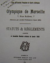 Photographie de la première page des Statuts et règlements de l'OM.