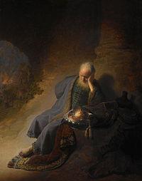Rembrandt Harmensz. van Rijn - Jeremia treurend over de verwoesting van Jeruzalem - Google Art Project.jpg