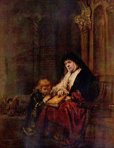 Rembrandt's painting of the biblical character Timothy with his grandmother teaching him from the scriptures