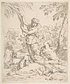 Repose in Egypt, Mary nursing the infant Christ while an angel pulls at tree branches MET DP815089.jpg