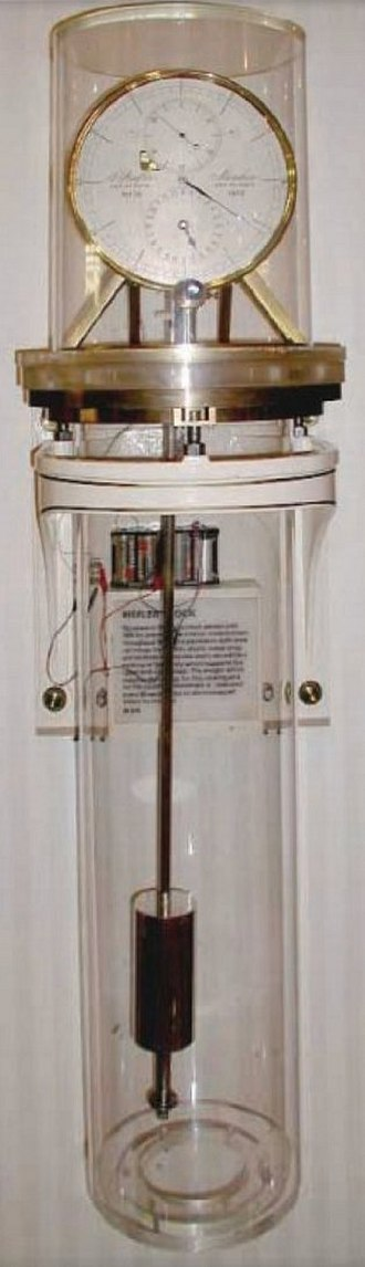 Pendulum - Invar pendulum in low pressure tank in Riefler regulator clock, used as the US time standard from 1909 to 1929