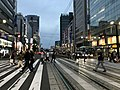 Rijo-dori Street from platform of Hondori Station at dusk.jpg