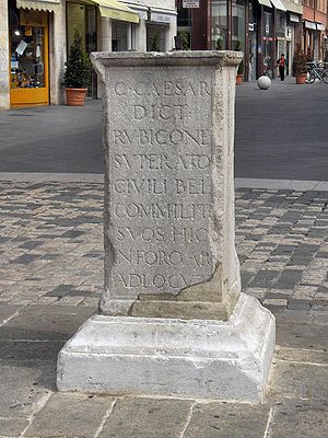 Senatus consultum ultimum - Column in Rimini marking the place where Caesar addressed his legion, legitimising his actions by the way the senate had treated the tribunes.