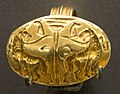 Ring, lions to pillar, Mycenae, 1700-1400 BC, Gold, AshmoleanM, AN 1938.1126.142532 (cropped).jpg