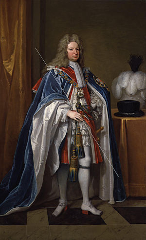 Robert Harley, 1st Earl of Oxford and Earl Mortimer - Harley pictured carrying the white staff of the Lord High Treasurer.  Portrait by Sir Godfrey Kneller.