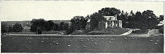 "Erdenheim Farm - Erdenheim Farm in 1901, looking southeast toward Chestnut Hill. Carson altered the Hocker farmhouse into a ""rustic"" summer house."