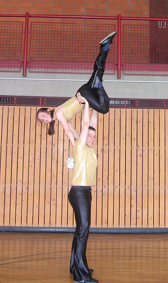 """Rock and Roll (dance) - The """"swan"""", a popular acrobatic move in the Junior class."""