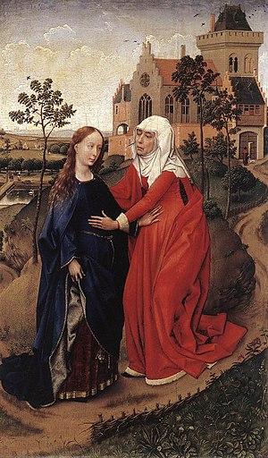 Pregnancy in art - Visitation by Rogier van der Weyden (1430s, now Leipzig) with open laces on Elizabeth.