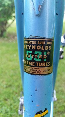 A Reynolds 531 product decal on a bicycle frame.