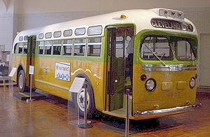 "Montgomery bus boycott - The National City Lines bus, No. 2857, on which Rosa Parks was riding before she was arrested (a GM ""old-look"" transit bus, serial number 1132), is now on exhibit at the Henry Ford Museum."