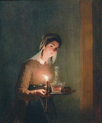 "Nightcap (drink) - ""A Bedtime Drink"" by Dutch painter Johannes Rosierse (circa 1860)"