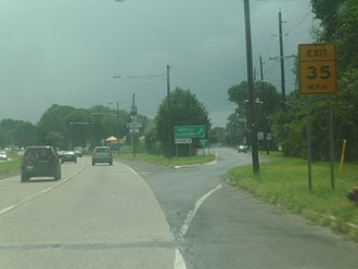 U.S. Route 130 - Route 130 southbound approaching Route 156 in Yardville, one of its former alignments