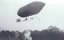 Roy Knabenshue on a dirigible, approximately 1905
