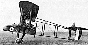 "Pusher configuration - The First World War Royal Aircraft Factory F.E.2 with classic ""Farman"" layout. Along with the Voisin bombers was among the last military pushers built in large numbers."