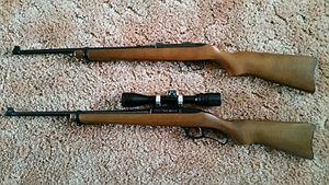 Ruger Model 96 - Ruger 96/17 (bottom) compared to Ruger 10/22 22WMR (top)