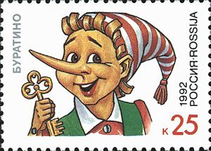 Buratino - A Russian postage stamp from 1992 with an illustration of Buratino