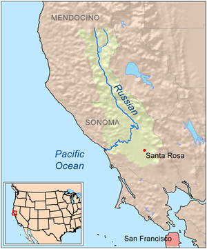 Map showing the Russian River drainage basin.