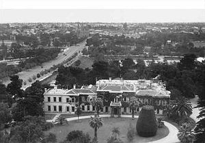 Government House, Adelaide - View of Government House and North Adelaide circa 1933