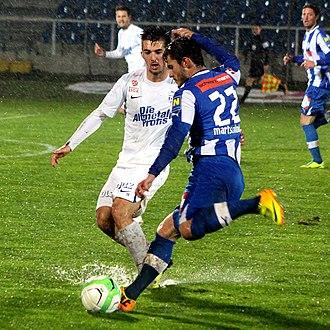 Marvin Potzmann - Potzmann (in white shirt) during the match between Wiener Neustadt, 23 November 2013
