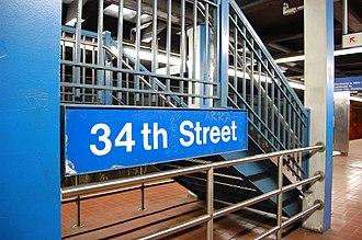 34th Street station (Market–Frankford Line) - Image: SEPTA34th Street Station Platform Sign 2007