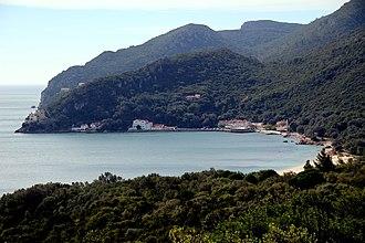 Nature Park of Arrábida - The rocky cliffs of the Serra da Arrabida seen from the coast of São Simão