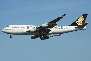 Singapore Airlines - Image: SIA Boeing 747 400, 9V SPP, SIN 6 for wiki