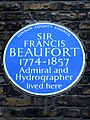 SIR FRANCIS BEAUFORT 1774-1857 Admiral and Hydrographer lived here.jpg