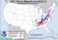 SPC Severe weather reports 20110427.png