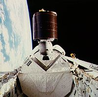 AUSSAT-1 (now Optus A1) on deployment from Space Shuttle Discovery on STS-51-I