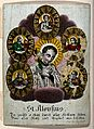 Saint Aloysius Gonzaga and other saints. Coloured stipple en Wellcome V0048888.jpg