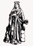 Saint Barbara with chalice and cannon