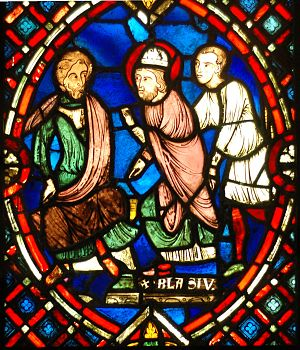 Saint Blaise - Saint Blaise confronting the Roman governor- scene from a stained glass window from the area of Soissons (Picardy, France), early 13th century.