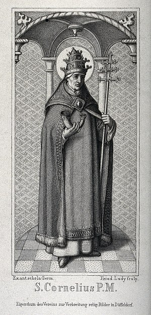 Saint Cornelius, Pope. Line engraving by F.A. Ludy. Wellcome V0031898.jpg