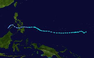 1959 Pacific typhoon season - Image: Sally 1959 track