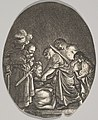 Salome receiving the head of John the Baptist, surrounded by three men and a child bearing a torch, the Baptist's body lies on the ground, an oval composition MET DP828350.jpg