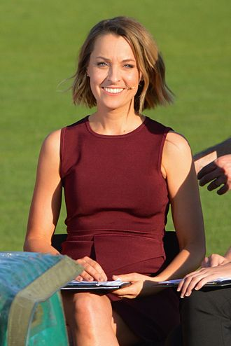 Samantha Lane - Lane during Seven Network's pre-game coverage prior to the inaugural AFL Women's match in February 2017