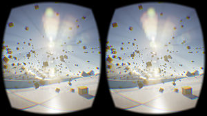 Virtual reality headset - Image captured from an Oculus Rift DK2, showing compensation for lens distortion and chromatic aberration.