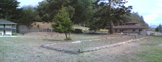 San Pedro y San Pablo Asistencia - The perimeter of the outpost's foundation is outlined with logs.