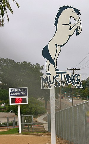 San Dieguito Academy - Historic Mustangs signboard before it was removed in 2013; restored in 2017