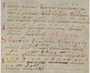 Sanctus - Text of the Sanctus in an 11th-century manuscript
