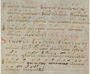 Sanctus - Text of the Sanctus in an 11th-century manuscript