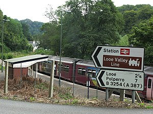 Looe Valley Line - Looe Valley Line road sign at Sandplace