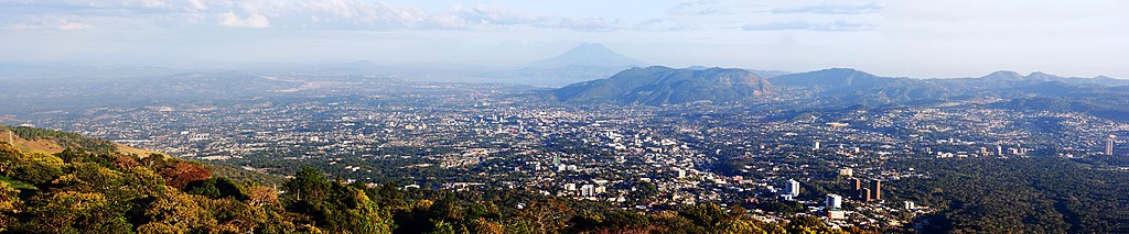 Panoramic view of El Salvador's capital city San Salvador.