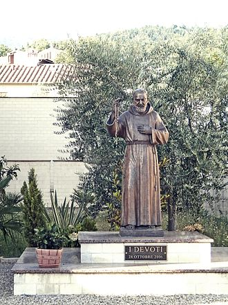 A sculpture of Padre Pio in Italy raised in October 2006 Santa Maria Madre di Dio a Fornacelle 6.jpg