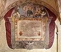 Santissima annunziata, secondo chiostro, lapide clemente X con san filippo benizi tra stemma medici+1, 01.jpg