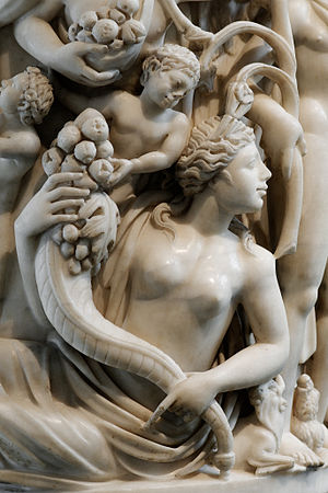 Terra (mythology) - Detail from a sarcophagus depicting a Mother Earth figure (3rd century AD).
