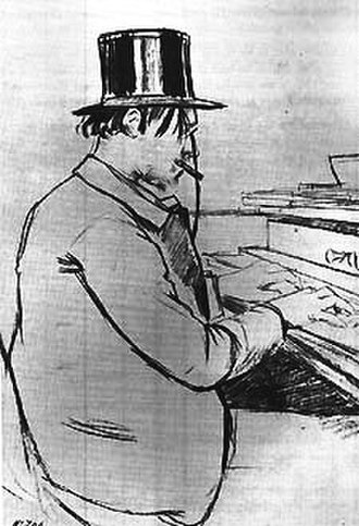 Cabaret - The composer Eric Satie playing the piano at Le Chat Noir (1880s)