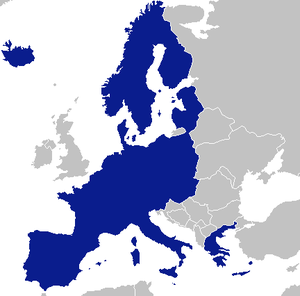 Federalisation of the European Union - Image: Schengen area single entity
